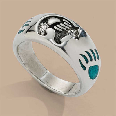 Bear Symbol Ring in 925 Sterling Silver