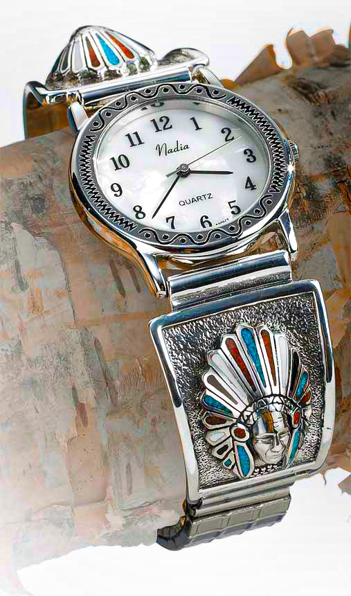 Native American Indian Chief Watch - 925 Sterling Silver