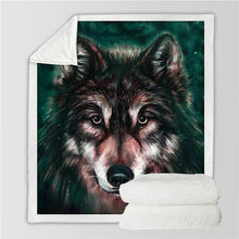 Load image into Gallery viewer, Wolf Sherpa Blanket