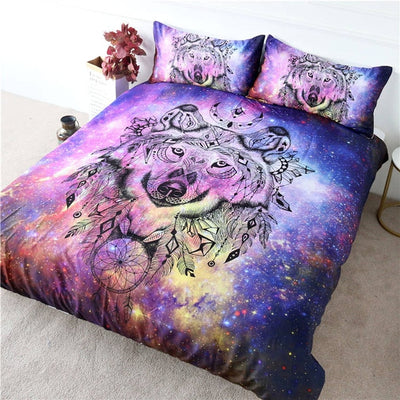 Tribal Wolf Colored Bedding Set