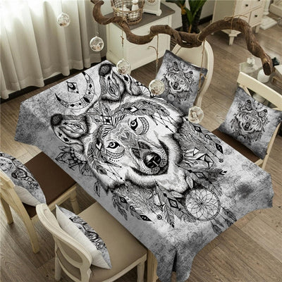 Moon Wolf Rectangular Table Cloth