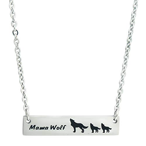 Mother Wolf with Baby Wolves Necklace 2