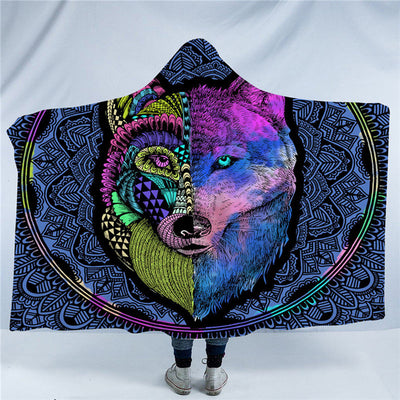 Tribal Wolf Hooded Blanket