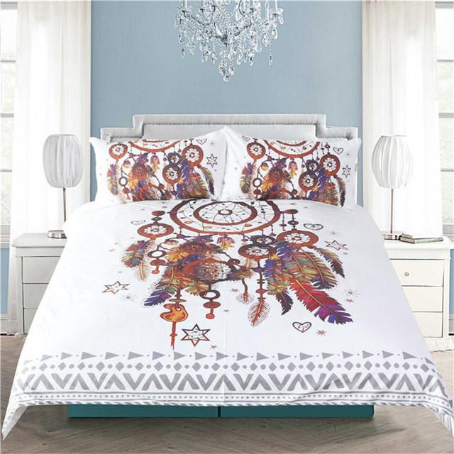 Dreamcatcher Feathers Bedding 40Pcs Set Wolvestuff Fascinating Dream Catcher Comforter