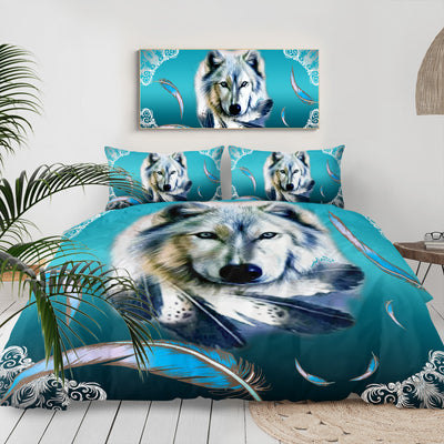 Turquoise Wolf Feather Bedding Set