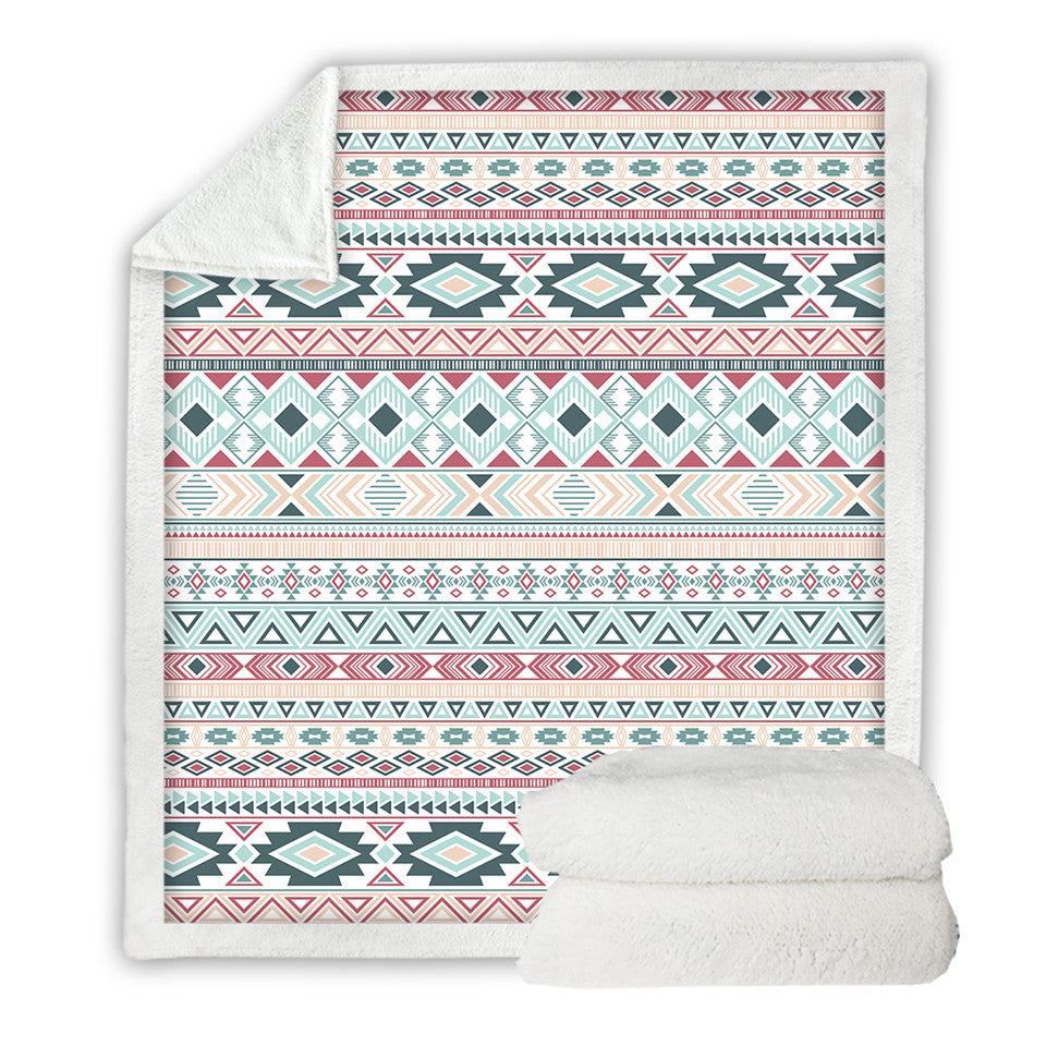 Aztec Linen Blanket Mayan Tribal Geometric Bed Blanket Colorful Ethnic Bedspreads Striped Traditional Pink Blanket