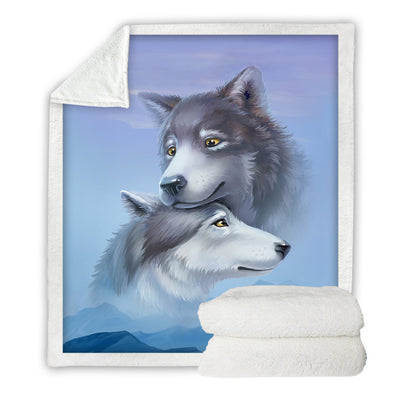 Wolf Couple  Sherpa Blanket