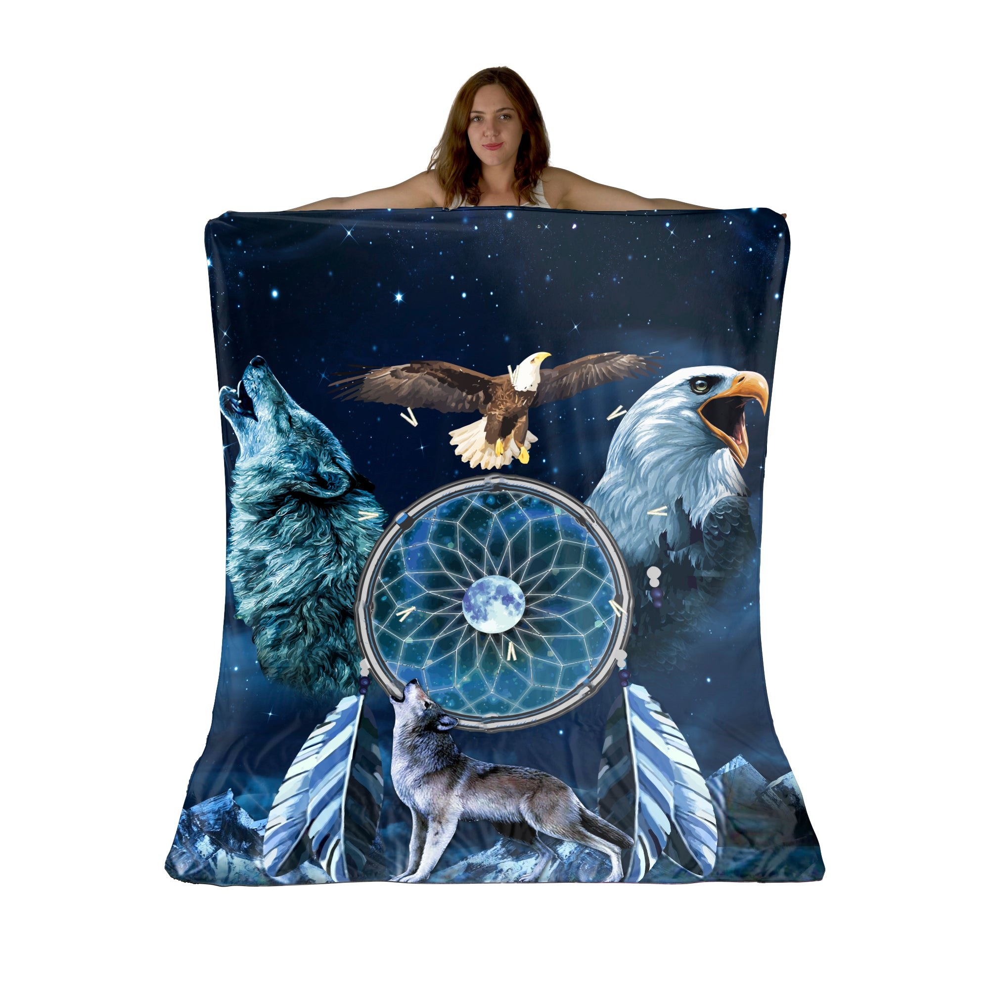 Wolf And Eagle Sherpa Fleece Blanket