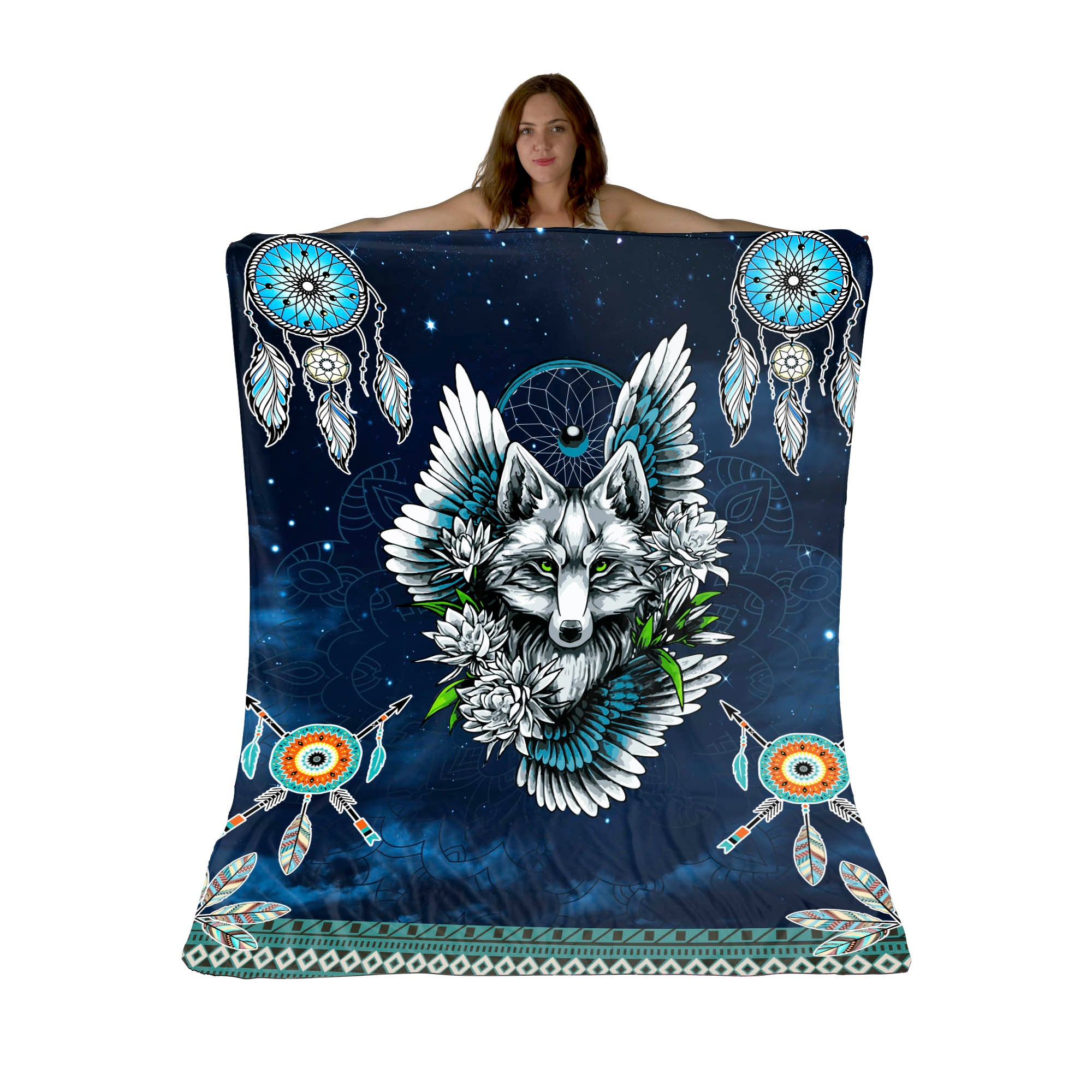 Wolf Dreamcatcher Sherpa Fleece Blanket