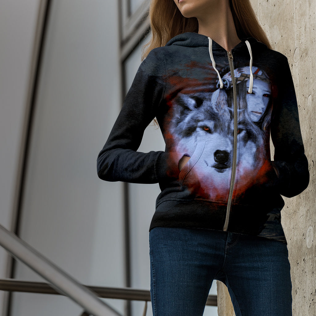 My Wolf My Spirit Zip Up Hoodie