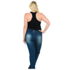 Image of Diamante PLUS SIZE Colombian Design Butt Lifter Women High Waist Skinny Jeans -Denim- 001