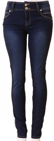 Diamante Skinny Colombian Design Butt Lifter Jeans- Navy
