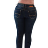 Image of Diamante Skinny Colombian Design Butt Lifter Jeans- Navy