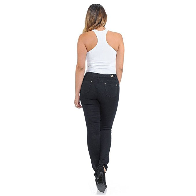 42822e2da ... Diamante Colombian Design Butt Lifter Women Denim High Waist Skinny  Jeans-Black with weave- ...