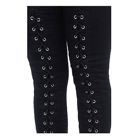 Diamante Colombian Design Butt Lifter  Women Denim High Waist Skinny Jeans-Black with weave- A10240