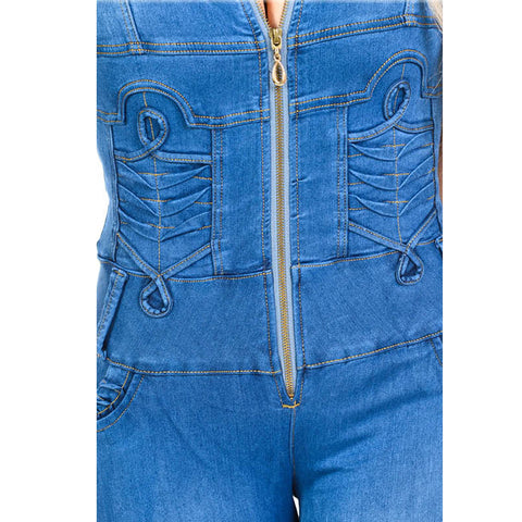 Diamante Colombian Design Butt Lifter Women Skinny Denim Jumpsuit- Blue- JAR961