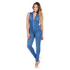 Image of Diamante Colombian Design Butt Lifter Women Skinny Denim Jumpsuit- Blue- JAR961