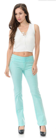 Diamante Colombian Design Butt Lifter Light Summer Pants-Mint