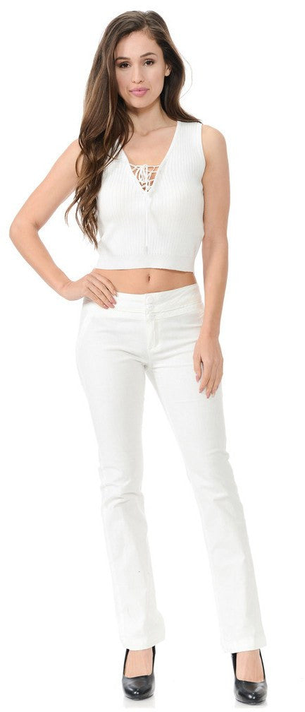 Diamante Colombian Design Butt Lifter Summer Light Pants-White