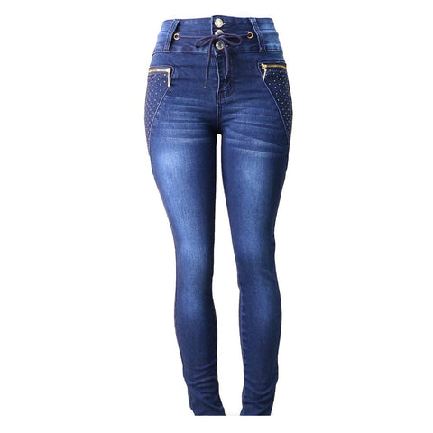 Diamante JUNIORS & PLUS Colombian Design Butt Lifter  Women Denim High Waist Skinny Jeans-Blue with bling- N1408