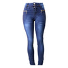 Image of Diamante JUNIORS & PLUS Colombian Design Butt Lifter  Women Denim High Waist Skinny Jeans-Blue with bling- N1408