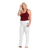 Image of Diamante PLUS SIZE Colombian Design Butt Lifter Women Denim Skinny Jeans-White- W1506