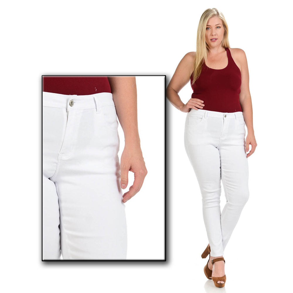 c63e76eca31 ... Diamante PLUS SIZE Colombian Design Butt Lifter Women Denim Skinny Jeans -White- W1506