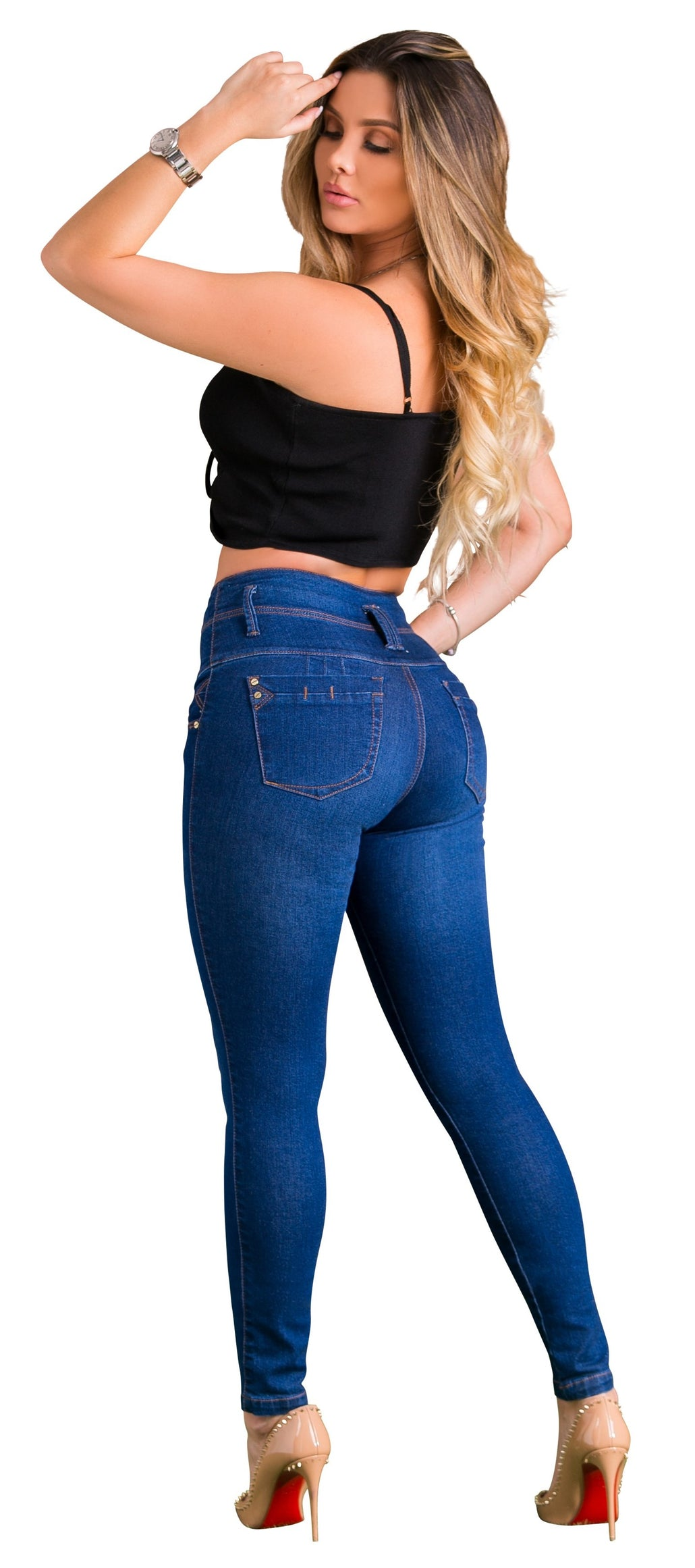 Moda Jeans Trivassi 100% Made in Colombia Butt Lifter Women Jeans with built in shapewear/ fajas/ abdomen control Juniors & Plus- Levantacola- Denim