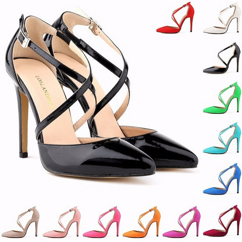Beautiful Cross Ankle Strap Point Toe High Heels