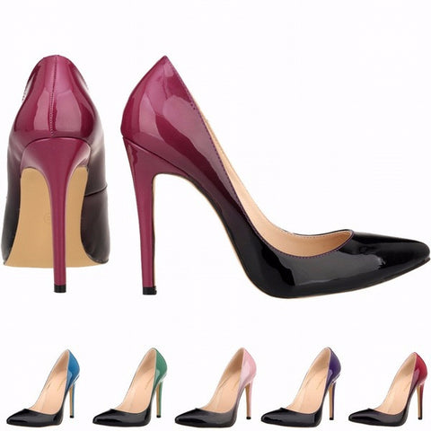 Beautiful Gradient Black Point Toe High Heels