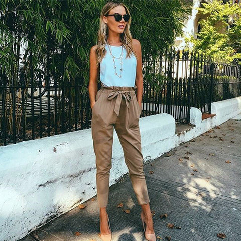 Trendy Simple Slim Tie Casual Pants