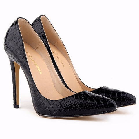 Trendy Crocodile Print Point Toe Stiletto High Heels