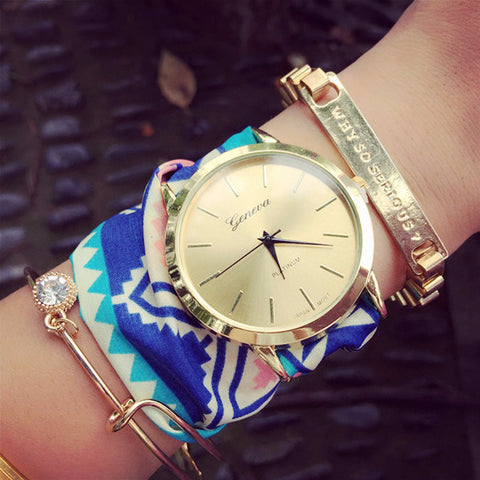 Stylish Steel Diamond Quartz Wrap Watch