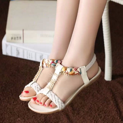 Lovely Jewel Knit Strap Casual Sandals