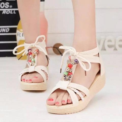 Charming Open Toe Ankle Strap Lace Bead Sandals