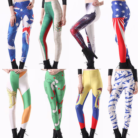 Womens Stylish Country Print Hip Design Leggings