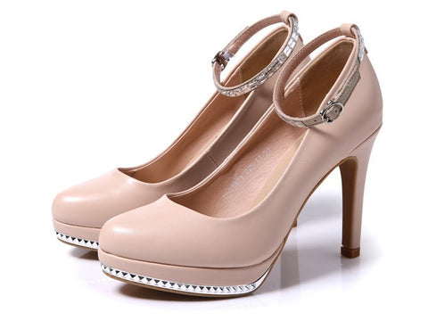 Womens Sexy Ankle Strap High Heel Platforms