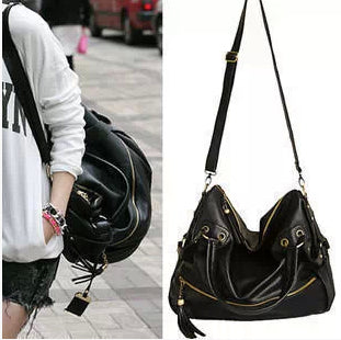 Trendy Black Zip Tassel Shoulder Handbag
