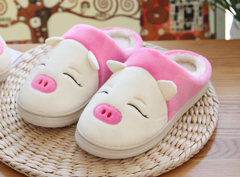 Womens Cute Piggy House Slippers