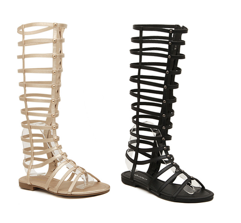Womens Gladiator Strappy Knee High Open Toe Sandals
