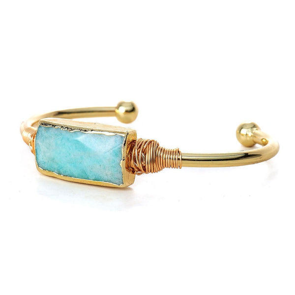 Amazonite Bar Bangle-Bracelet-Aria Lattner