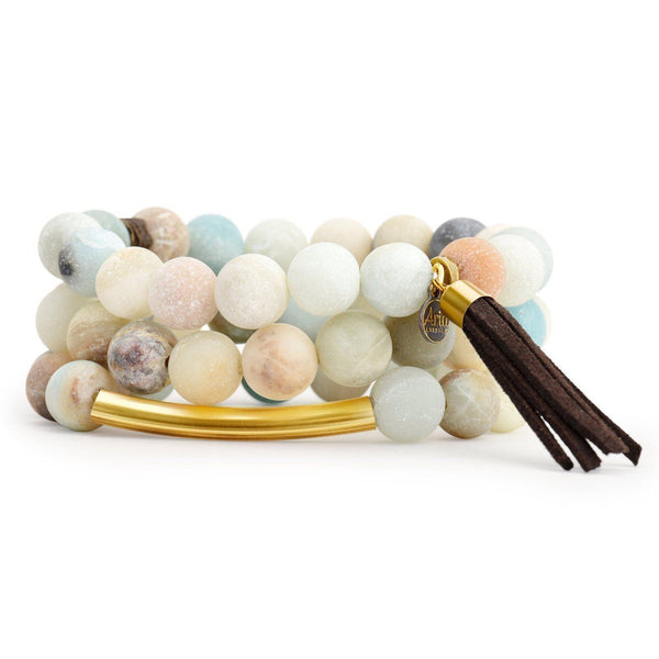 Beaded Amazonite Bar Bracelet Set-Bracelet-Aria Lattner