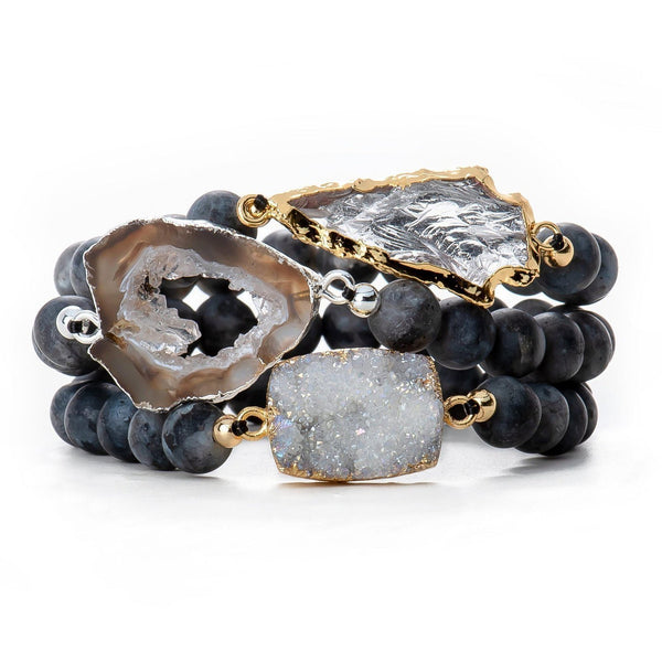 Blueberry Druzy Stacking Set-Bracelet-Aria Lattner