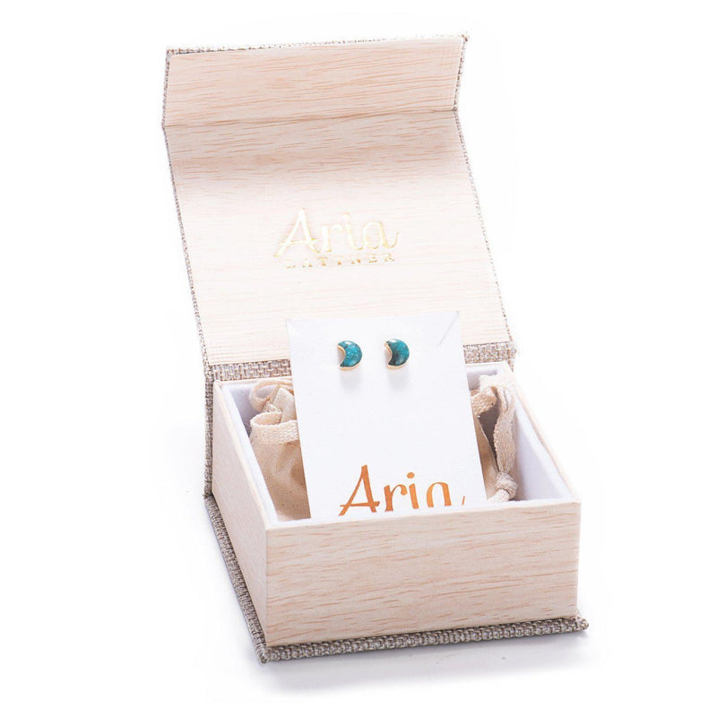 Crescent Moon Studs-Earrings-Aria Lattner