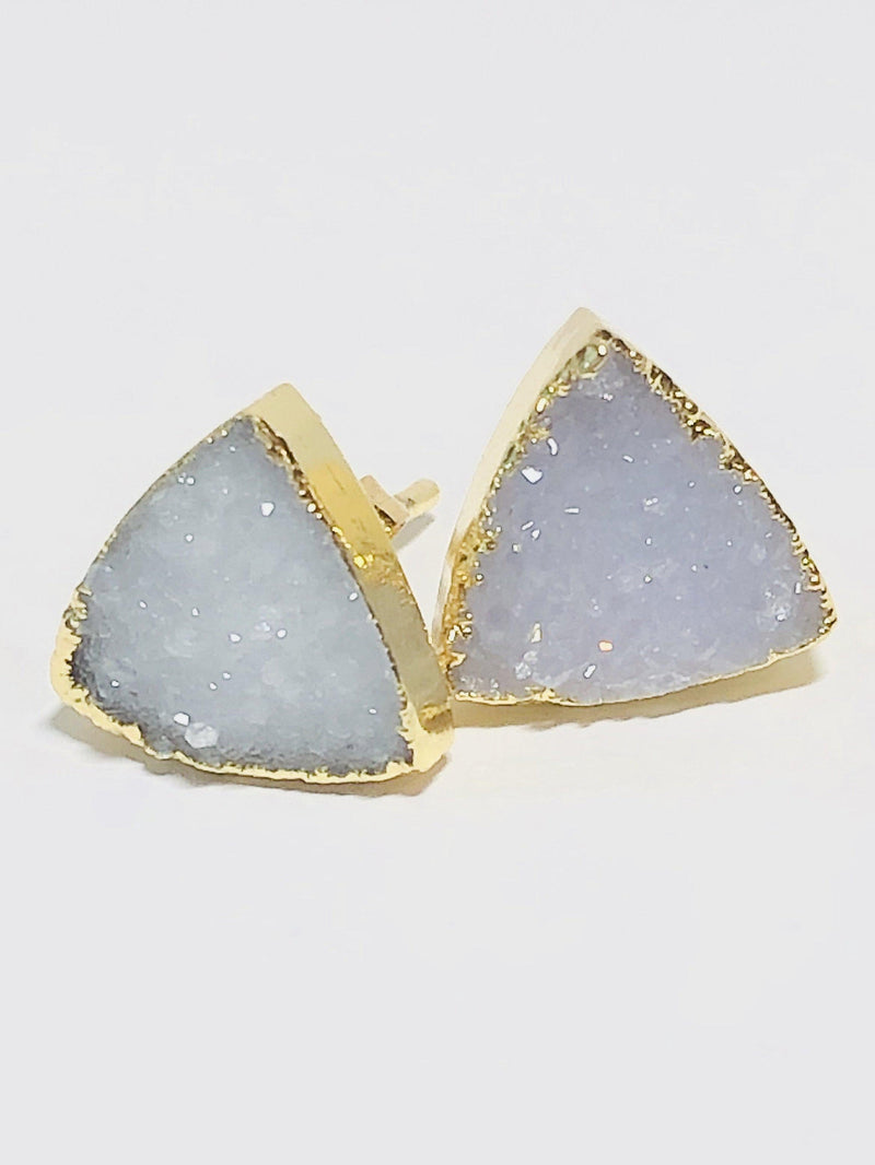 Druzy Triangle Studs-Earrings-Aria Lattner