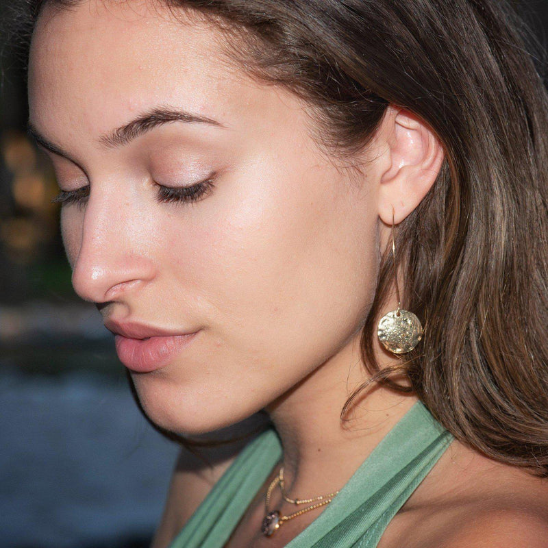 Hammered Disc Earrings-Earrings-Aria Lattner