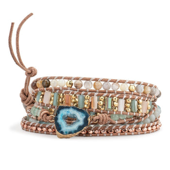 Hawaiian Geode Druzy Leather Wrap-Bracelet-Aria Lattner