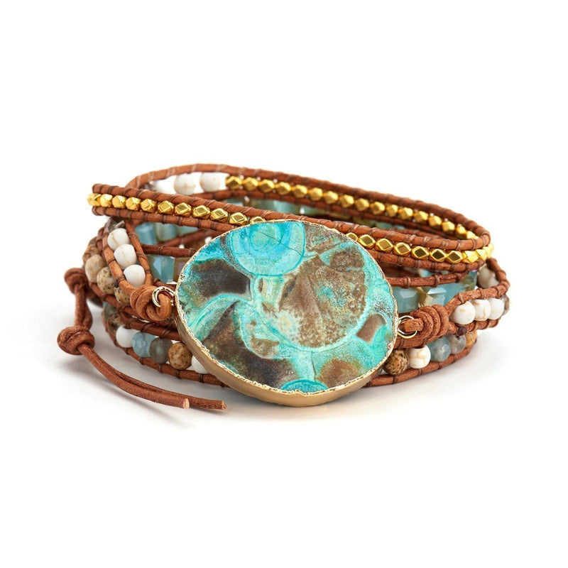 Hawaiian Ocean Jasper Leather Wrap Bracelet-Bracelet-Aria Lattner