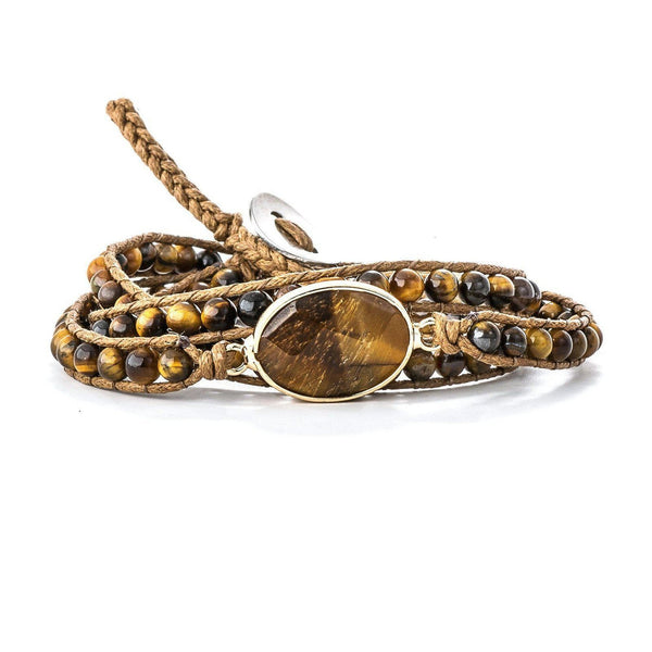 Hawaiian Tiger's Eye Leather Wrap Bracelet-Bracelet-Aria Lattner