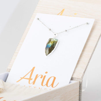 Labradorite Shield Necklace-Necklace-Aria Lattner